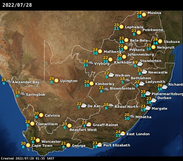Sa Weather Forecast Africaweather